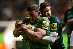 Jonny May of Leicester Tigers tackles Rob Vickers of Newcastle Falcons - Mandatory by-line: Robbie Stephenson/JMP - 27/04/2018 - RUGBY - Welford Road Stadium - Leicester, England - Leicester Tigers v Newcastle Falcons - Aviva Premiership