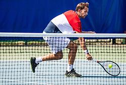 Frederik Nielsen (DEN) in action during Day 5 at ATP Challenger Zavarovalnica Sava Slovenia Open 2018, on August 7, 2018 in Sports centre, Portoroz/Portorose, Slovenia. Photo by Vid Ponikvar / Sportida