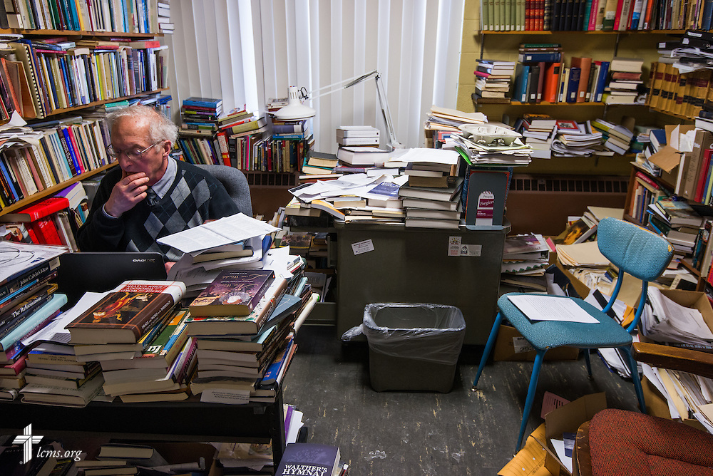 Dr. Cameron A. MacKenzie, the Forest E. and Frances H. Ellis professor of historical theology and chairman of historical theology at Concordia Theological Seminary, works at his desk on Monday, Jan. 20, 2014, in Fort Wayne, Ind. LCMS Communications/ Erik M. Lunsford
