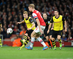 Borrusia Dortmund's Marco Reus shoots inside the box but fails to score to put them in the lead. - Photo mandatory by-line: Alex James/JMP - Tel: Mobile: 07966 386802 22/10/2013 - SPORT - FOOTBALL - Emirates Stadium - London - Arsenal v Borussia Dortmund - CHAMPIONS LEAGUE - GROUP F