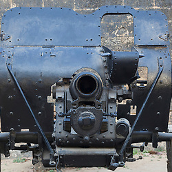 British manufactured vintage 4.5 inch howitzer. Built by Coventry Ordnance Works in 1917 then supplied to Portugal post war and captured by India in 1961. Fort Diu, in the union territory of Daman and Diu, India