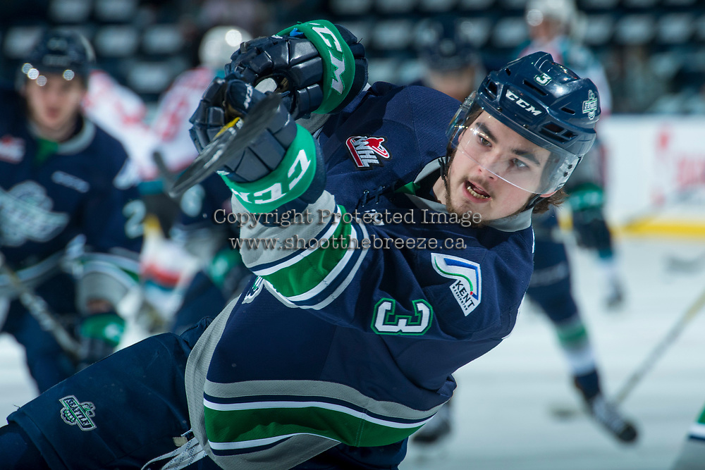 KELOWNA, CANADA - APRIL 25: Anthony Bishop #3 of the Seattle Thunderbirds takes a shot during warm up against the Kelowna Rockets on April 25, 2017 at Prospera Place in Kelowna, British Columbia, Canada.  (Photo by Marissa Baecker/Shoot the Breeze)  *** Local Caption ***
