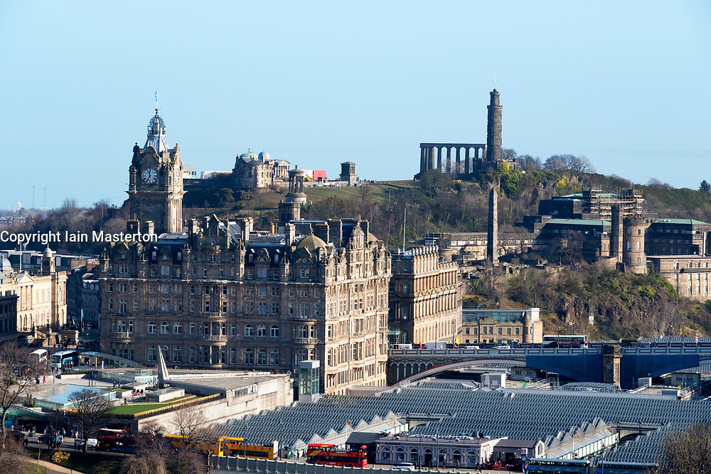 Skyline of Edinburgh towards Calton Hill , Scotland , United Kingdom