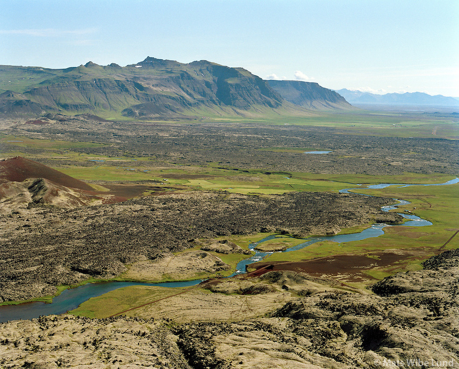 Haffjarðará, séð til austurs Eyja- og Miklaholtshreppur - Kolbeinstaðahreppur /  Haffjardara viewing east. The river divides between Eyja- og Miklaholtshreppur and  Kolbeinstadahreppur