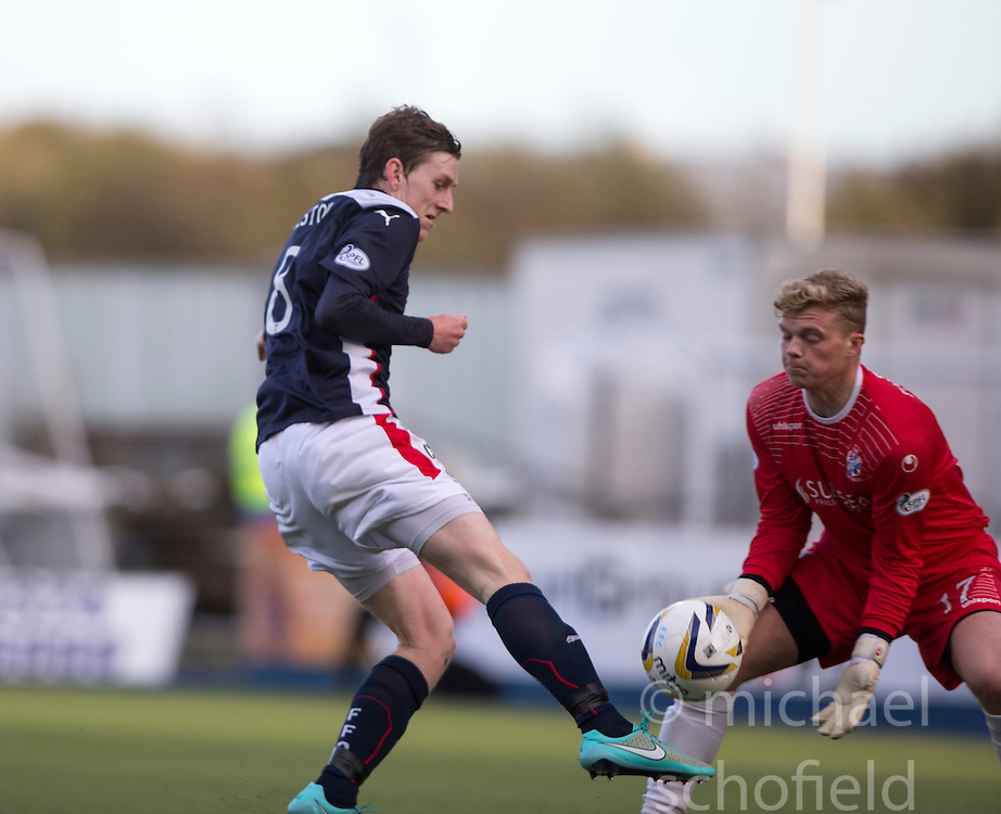 Falkirk's Blair Alston and Cowdenbeath's keeper Robbie Thomson.<br /> Falkirk 6 v 0 Cowdenbeath, Scottish Championship game played at The Falkirk Stadium, 25/10/2014.