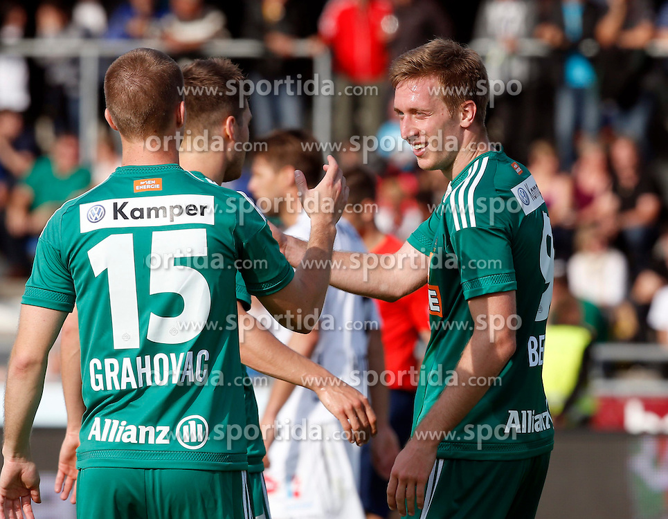 31.05.2015, Stadion Wolfsberg, Wolfsberg, AUT, 1. FBL, RZ Pellets WAC vs SK Rapid Wien, 35. Runde, im Bild v.l. den Jubel von Srdan Grahovac (SK Rapid Wien) und Robert Beric (SK Rapid Wien) // during the Austrian Football Bundesliga 35th Round match between RZ Pellets WAC and SK Rapid Vienna at the Stadium Wolfsberg in Wolfsberg Austria on 2015/05/31, EXPA Pictures © 2015, PhotoCredit: EXPA/ Wolfgang Jannach