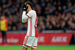 Sergino Dest #28 of Ajax during the Dutch Eredivisie match round 25 between Ajax Amsterdam and AZ Alkmaar at the Johan Cruijff Arena on March 01, 2020 in Amsterdam, Netherlands