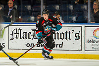 KELOWNA, CANADA - NOVEMBER 23:  Lassi Thomson #2 of the Kelowna Rockets skates with the puck against the Victoria Royals on November 23, 2018 at Prospera Place in Kelowna, British Columbia, Canada.  (Photo by Marissa Baecker/Shoot the Breeze)