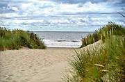 Nederland, The Netherlands, Wijk aan zee, 12-6-2018Duinen met helmgras en zicht op de zee, noordzee .Foto: Flip Franssen