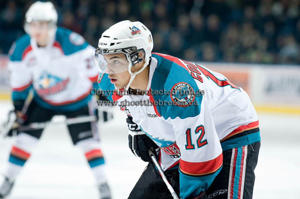 KELOWNA, CANADA, JANUARY 25: Tyrell Goulbourne #12 of the Kelowna Rockets faces off as the Kamloops Blazers visit the Kelowna Rockets on January 25, 2012 at Prospera Place in Kelowna, British Columbia, Canada (Photo by Marissa Baecker/Getty Images) *** Local Caption ***