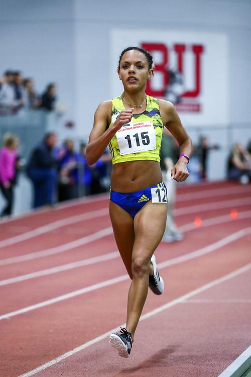 David Hemery Valentine Invitational<br /> Indoor Track & Field at Boston University , womens 3000 meters, heat 1,  , BAA, Erika Kemp, adidas,