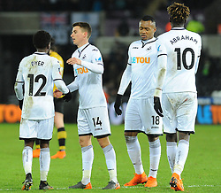 Tom Carroll of Swansea City congratulates Nathan Dyer of Swansea City on his goal - Mandatory by-line: Nizaam Jones/JMP - 27/02/2018 - FOOTBALL - Liberty Stadium - Swansea, Wales-Swansea City v Sheffield Wednesday - Emirates FA Cup fifth round proper
