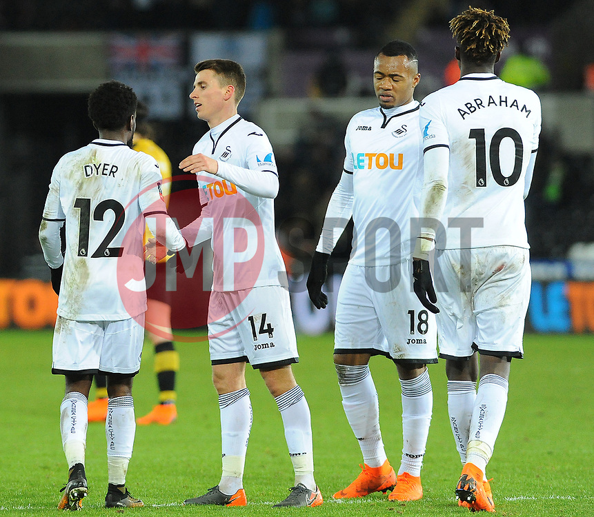 Tom Carroll of Swansea City congratulates Nathan Dyer of Swansea City on his goal - Mandatory by-line: Nizaam Jones/JMP - 27/02/2018 - FOOTBALL - Liberty Stadium - Swansea, Wales-Swansea City v Sheffield Wednesday - Emirates FA Cup fifth round proper