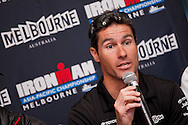 Craig Alexander (AUS). Official Pre-Race Press Conference. 2012 Ironman Melbourne. Asia-Pacific Championship. Hosted By USM Events. 22/03/2012. Photo By Lucas Wroe.