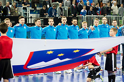 Players of national team of Slovenia before futsal quarterfinal match between National teams of Slovenia and Russia at Day 7 of UEFA Futsal EURO 2018, on February 5, 2018 in Arena Stozice, Ljubljana, Slovenia. Photo by Urban Urbanc / Sportida