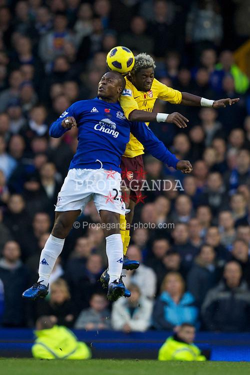 LIVERPOOL, ENGLAND - Sunday, November 14, 2010: Everton's Ayegbeni Yakubu and Arsenal's Bacary Sagna during the Premiership match at Goodison Park. (Photo by: David Rawcliffe/Propaganda)