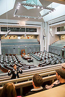 Australian Parliment House Canberra. Rosemary Lever conducts a visitor Tour of the House of Representatives.