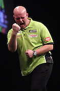 Stephen Bunting v Michael van Gerwen at the Betway Premier League Darts at the Motorpoint Arena, Sheffield, United Kingdom on 9 April 2015. Photo by Glenn Ashley.