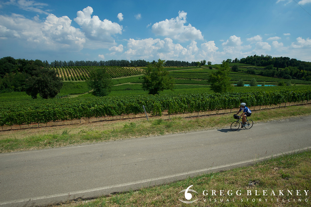 A cyclist on the Sangiovese di Romagna Wine Trail near Faenza, Italy