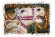 Digital Painting of Carrousel Horses.