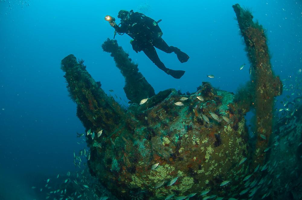 Scuba diver on the shipwreck of the U-352 offshore North Carolina, United States