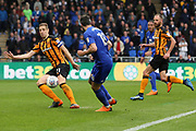 Cardiff City defender Callum Paterson (18) takes the ball past Hull City defender Michael Dawson (21) during the EFL Sky Bet Championship match between Hull City and Cardiff City at the KCOM Stadium, Kingston upon Hull, England on 28 April 2018. Picture by Mick Atkins.