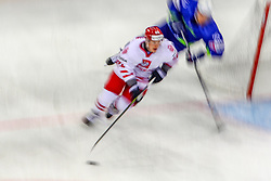 Damian Tomasik of Poland during Ice Hockey match between National Teams of Slovenia and Poland in Round #2 of 2018 IIHF Ice Hockey World Championship Division I Group A, on April 23, 2018 in Budapest, Hungary. Photo by David Balogh / Sportida