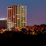 One Park Place condominium tower, formerly the BMA Building, designed by Skidmore Owings Merrill Architects. Kansas City, Missouri at dusk.