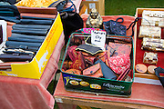 Leather purses on display at a car boot sale, UK