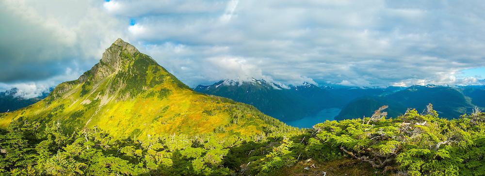 Arrowhead Mountain & Sitka Sound from the summit of Mt. Verstovia, Sitka, Alaska, USA