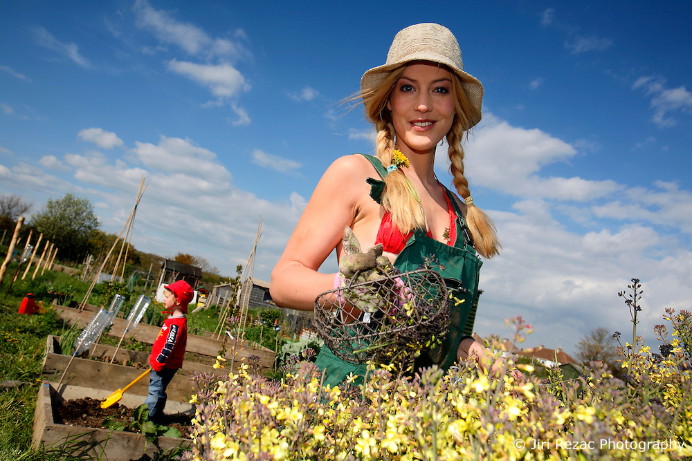UK ENGLAND WEST SUSSEX 6MAY10 - German actress Susanne Gaertner and her son Callum do some gardening on her allotment plot in  West Sussex, England.<br /> <br /> jre/Photo by Jiri Rezac<br /> <br /> &copy; Jiri Rezac 2010