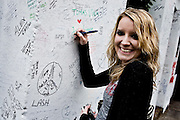 London | April 7, 2010 | Thousands visit Abbey Road Studios in northwest London every year and leave a note at the outside walls of the venue, like teenager Ciara Nicole from the USA | © juelich/ip-photo.com
