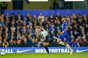 Derby County forward Martyn Waghorn (9) stumbles to the ball with Chelsea defender Emerson Palmieri (33) behind  during the EFL Cup 4th round match between Chelsea and Derby County at Stamford Bridge, London, England on 31 October 2018.