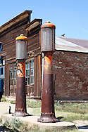 Gas pumps in ghost town.