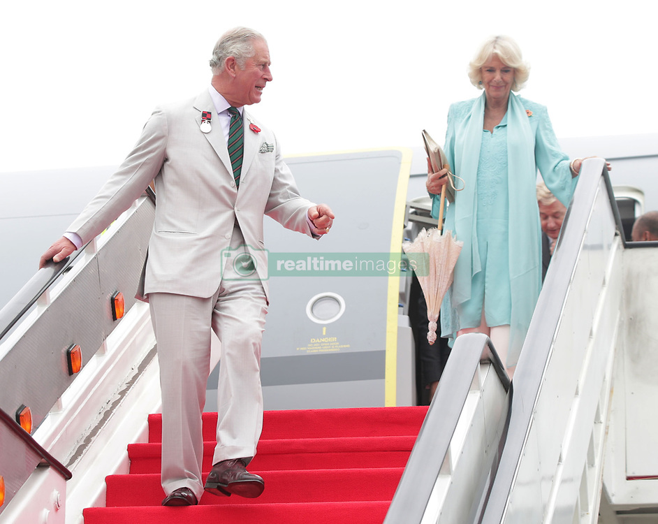 The Prince of Wales and the Duchess of Cornwall arrive at Brunei International Airport, Brunei during an 11-day autumn tour of Asia.