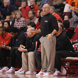 Jan 31, 2009; Piscataway, NJ, USA; Rutgers head coach Fred Hill looks for a call from the referees during the first half of Rutgers' 75-56 victory over DePaul in NCAA college basketball at the Louis Brown Athletic Center
