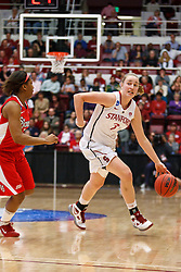 March 21, 2011; Stanford, CA, USA; Stanford Cardinal forward Mikaela Ruef (3) dribbles past St. John's Red Storm guard Nadirah McKenith (5) during the second half of the second round of the 2011 NCAA women's basketball tournament at Maples Pavilion. Stanford defeated St. John's 75-49.