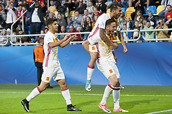 June 20, 2017 - Gdynia, Poland - The Spanish players celebrate after Saul Niguez goal during the UEFA European Under-21 Championship 2017  Group B match between Portugal and Spain at Gdynia Stadium in Gdynia, Poland on June 20, 2017  (Credit Image: © Andrew Surma/NurPhoto via ZUMA Press)