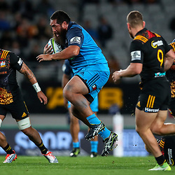 Charlie Faumuina of the Blues during the Super Rugby Match between the Blues and the Chiefs at Eden Park in Auckland, New Zealand on Friday, 26 May 2017. Photo: Simon Watts / www.lintottphoto.co.nz