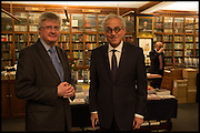 ANDREW MCGEACHIN; RICHARD COHEN   Book party for 'The Liar's Ball' by Vicky Ward hosted by  Sir Evelyn  de Rothschild at Henry Sotheran's, 2 Sackville Street London. 25 November 2014