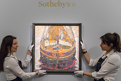 "© Licensed to London News Pictures. 20/02/2019. LONDON, UK. Technicians hold ""Triestiner Fischerboot (Trieste Fishing Boat"", 1912, by Egon Schiele (Est. £6.0-8.0m).  Preview of Sotheby's Impressionist & Modern and Surrealist Art sales.  The auction will take place at Sotheby's New Bond Street on 26 February 2019.  Photo credit: Stephen Chung/LNP"