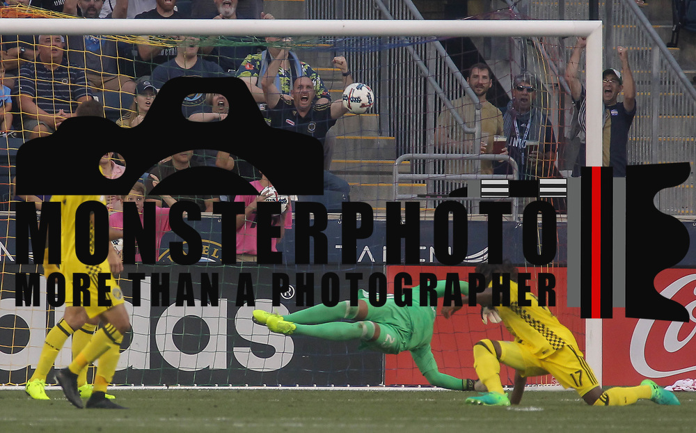 Columbus Crew SC Keeper ZACK STEFFEN (23) attempts to make a save as ILSON PEREIRA DIAS (25) scores in the 20th min Wednesday, July. 26, 2017, at Talen Energy Stadium in Chester, PA.
