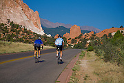 Road bikers hit the cycling loop in Garden of the Gods, Colorado Springs, Colorado