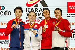 November 10, 2018 - Madrid, Madrid, Spain - Sadini Btissam (MAR) win the bronce medal and the third place of the tournament, Yin Xiaoyan (CHN) win the silver medal and the second place of the tournament, Sadini Btissam (MAR) and Coban Merve (TUR) win the bronce medal and the third place of the tournament of Female Kumite -61 Kg during the Finals of Karate World Championship celebrates in Wizink Center, Madrid, Spain, on November 10th, 2018. (Credit Image: © AFP7 via ZUMA Wire)