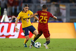 September 12, 2017 - Rome, Italy - Filipe Luis of Atletico tackling on Bruno Peres of Roma  during the UEFA Champions League Group C football match between AS Roma and Atletico Madrid on September 12, 2017 at the Olympic stadium in Rome. (Credit Image: © Matteo Ciambelli/NurPhoto via ZUMA Press)