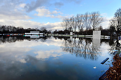 Pictured is East Molesey Cricket pitch, in Surrey, UK, that has been flooded. Heavy rain and storms have lead to the Thames bursting it's banks.<br /> Monday the 10th of February 2014. Picture by Ben Stevens / i-Images