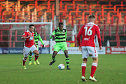 Forest Green Rovers Dale Bennett(6) plays a pass during the Vanarama National League match between Wrexham FC and Forest Green Rovers at the Racecourse Ground, Wrexham, United Kingdom on 26 November 2016. Photo by Shane Healey.