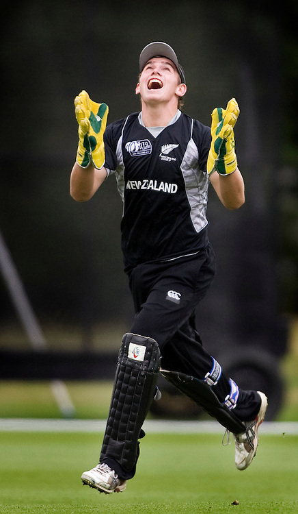 New Zealand wicket keeper Thomas Latham celebrates his third catch. New Zealand v Canada, U19 Cricket World Cup group stage match, Lincoln #3, Saturday 16 January 2010. Photo : Joseph Johnson/PHOTOSPORT