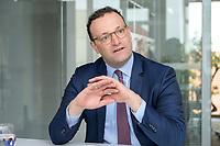 19 AUG 2019, BERLIN/GERMANY:<br /> Jens Spahn, CDU, Bundesgesundheitsminister, waehrend einem Doppel-Interview mit F ranziska G iffey (nicht im Bild), SPD, Bundesfamilienministerin, und , Redaktionsvertretung der Rheinischen Post<br /> IMAGE: 20190819-01-021