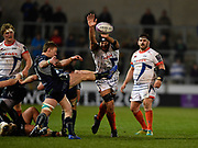 Sale Sharks No.8 Josh Beaumont tries to charge down a clearance kick from Connacht scrum-half Kieran Marmion during a European Challenge Cup Quarter Final match which Sale won 20-10 in Eccles, Greater Manchester, United Kingdom, Friday, March 29, 2019.  (Steve Flynn/Image of Sport)